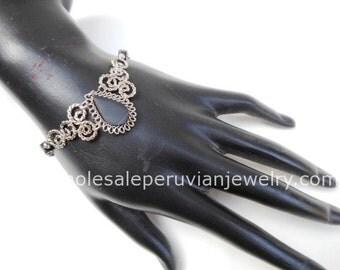 Black Onyx Teardrop Alpaca Silver Curls Bracelet Peruvian Jewelry - Handmade in Peru
