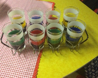 Vintage Primary Colored Glasses (8) with Carrier