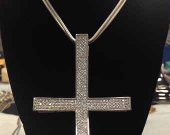 Upside Down Cross Necklace Etsy