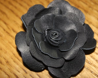 Black leather corsage,black rose, brooch pin, hair clip or shoe roses (price per flower) 7cms other colours avaliable made 2 order Ruby62 UK