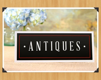 Printable Rustic Antiques Sign, DIY, Instant Download, Printable PDF, Black and White