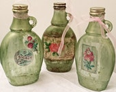 Shabby Chic Vintage Bottles in Antique Green and Pink Rose Set of 3 - EverythingDawnHome