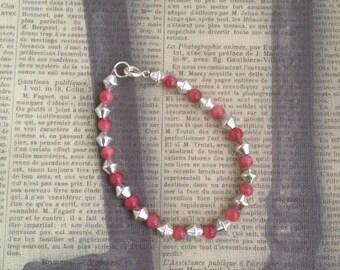 Pink/Silver Bead Bracelet