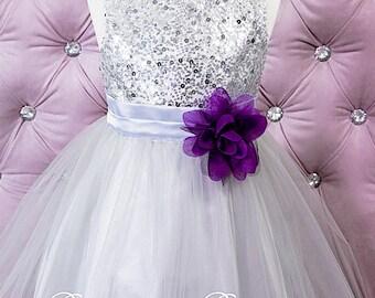 SILVER Flower Gitl dress, Christmas dress,  Special Occasion Flower girl, sequin Silver Girl Toddler Dress (ets0155sv)