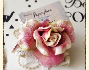 Victorian Velvet Rose & Pearl Hair Clip and Brooch