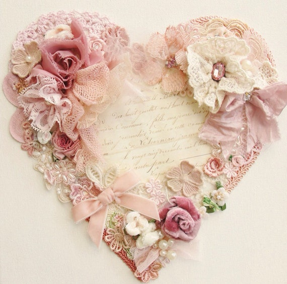Items similar to vintage heart wall canvas pink on etsy - Telas shabby chic ...