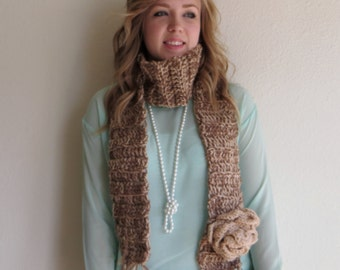 Crochet Scarf with Rose