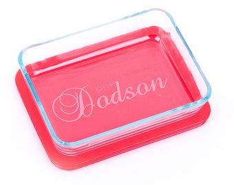Custom Laser Engraved Pyrex® Glass Serving Dish, with monogram or name 3 Cup (750 ml), rectangle, wedding gift gft0079