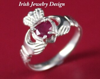 Claddagh ring, ladies silver ruby claddagh ring, set with a natural .50ct ruby gemstone.