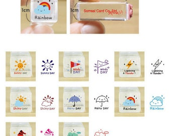 10% OFF Weather stamp set-- Korean Crystal Schedule Stamp-- Rubber Stamps--Deco stamp--8pcs per set