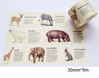 Vintage Animal World Washi Tape -- Japanese Washi Tape -Deco tape-- 30mm x5M