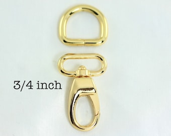 10 sets - 3/4 Inch (inside wide) Swivel Clips with Matching D Ring in Gold Finish