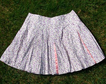 Cotton Floral Print Pleated Skirt Small/Medium UK10-12