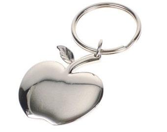 apple keychain. teacher, apple key chain, chrome, free engraving keychain