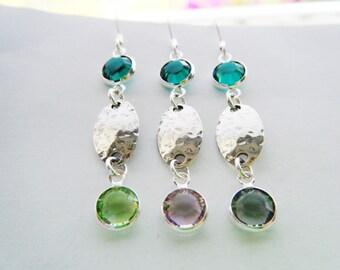 Sterling silver crystal earrings Sterling earrings Swarovski crystal jewelry Emerald earrings Long green earrings