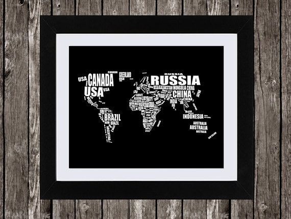 World map printable art typographic map countries of the world map printable art typographic map countries of the world country names word art wall art black white typography 14x11 16x20 sciox Image collections