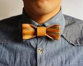 Handmade Paper Bow Tie   (smoky blue and chamois plaid design on Orange)- Men's Bow Tie neck tie  from 10/10 design studio