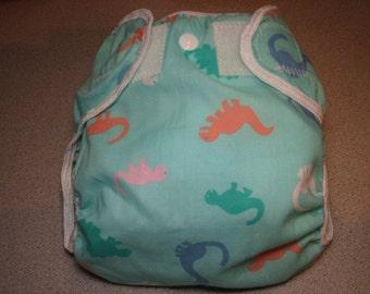 dinosaur cloth diaper cover, waterproof PUL, medium