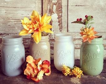 Painted Mason Jars (4 Jars)