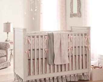 Girl Baby Crib Bedding: Paris Script Crib Bedding - Fabric Swatches Only