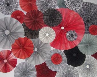 40pc 40pc Set of red gray Paper Pinwheel's Rosette paper Flower Party Decoration wedding birthday shower pinwheel decour photobooth backdrop