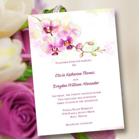 Printable Wedding Invitation Template Orchid