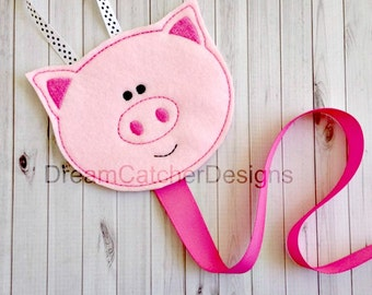 ITH Pig Felt Bow Holder Clippy Holder Clippie Holder Embroidery Design