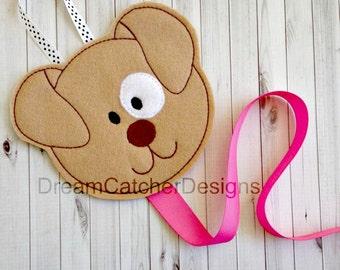 ITH Puppy Dog Felt Bow Holder Clippy Holder Clippie Holder Embroidery Design