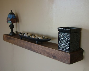 "Reclaimed Barn Wood Floating Shelf  40""x6""x3"" Choice of Color"