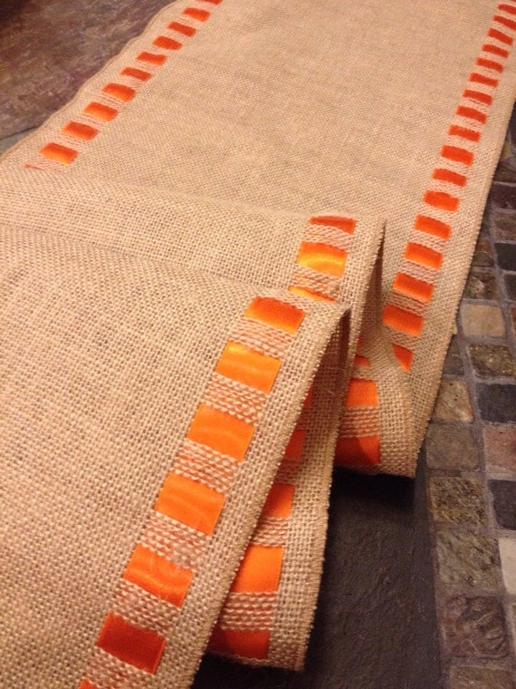 Burlap ribbon table runner 12 wide by 84 by internationalhome for 12 wide table