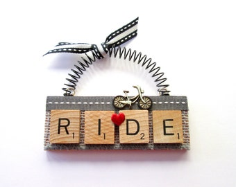 Bicycle Love to Ride Scrabble Tile Ornament