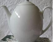 Vintage White Glazed Tea Pot Block  China Company  Retro Modern Large Size Egg Shaped Tea Pot   Perfect  for Your Tea Party WhenRosesBloom