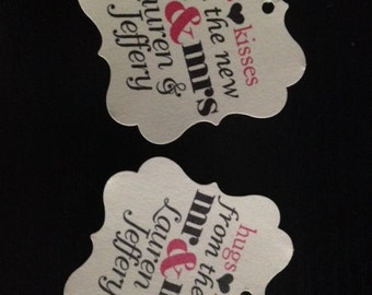 Wedding Favor Tags Hugs Kisses Mr Mrs Square Personalized Wedding Gift Tags