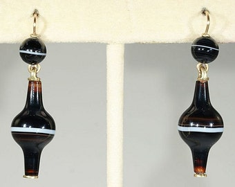 Antique Banded Agate Earrings, Unusual Shape 15k Gold