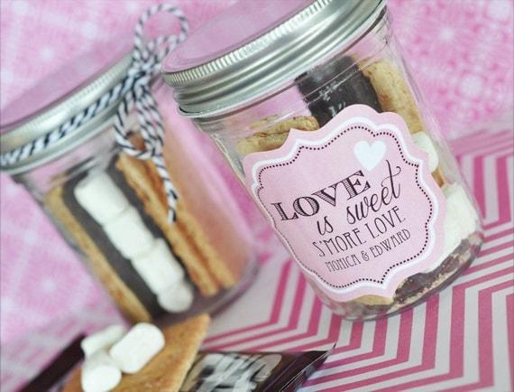 Smores Wedding Favors - Mason Jar Wedding Favors - DIY Smores Bar Supplies - Smore Love - Personalized Mason Jars (EB2310PW) -  set of 12