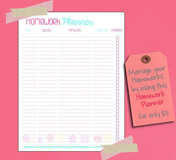 Homework Planner Printable Instant Download by mixedberrieshop
