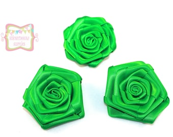 Green Satin Rolled Rosette 3 Pieces #D121