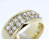 14K Yellow Gold Wide Men's Band with Diamonds