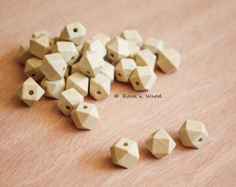 20 beads - Small Faceted Geometric Wood Beads 12 mm - DIY, Jewelry Supply, Wood Crafts
