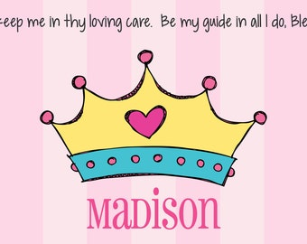 Personalized Placemat - Kids Placemat - Childrens Placemat - Childs Placemat - Laminated Placemat - Baptism Gift - Princess Crown