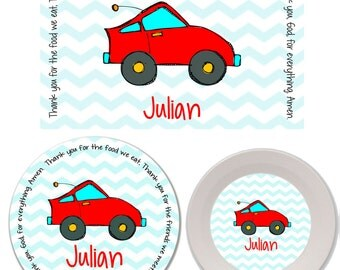 Personalized Kids Melamine Plate, Bowl and Placemat Set - Melamine Dinnerware Set - Mealtime Set - Kids Plate and Bowl Set - Racecar