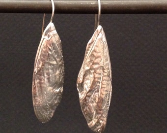 cicada large wing earrings - sterling silver or bronze cicada nature inspired