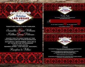 Printable Wedding Invitation Set - Invitation - RSVP Card - Details Card - DIY Wedding - Glitter Effect Las Vegas Wedding Collection Design