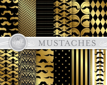 MUSTACHES Digital Paper: GOLD Mustache Pattern Printable Print, Mustaches Download, 12 x 12 Mustache Scrapbook Patterns