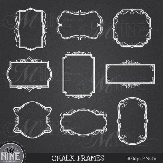Home Design Ideas Blackboard: Kreide Rahmen Clipart Design-Elemente Sofortiger Download