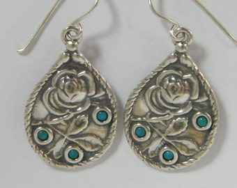 Sterling Silver Rose Imprint Earrings With Turquoise Stones