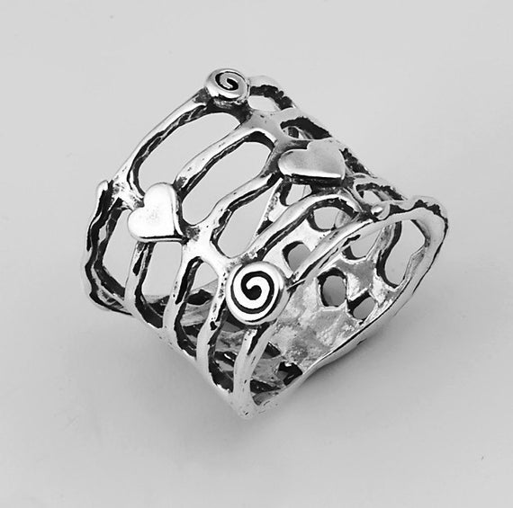 Sterling Silver Open Metal Work Ring