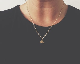 Personalised brass triangle necklace