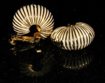 Vendome Shrimp Gold and White Enamel Clip On Earrings
