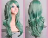 Long wavy Jade Green wig with bangs - ready to ship.